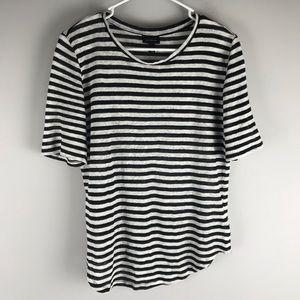 Who What Where asymmetrical linen tee stripe black